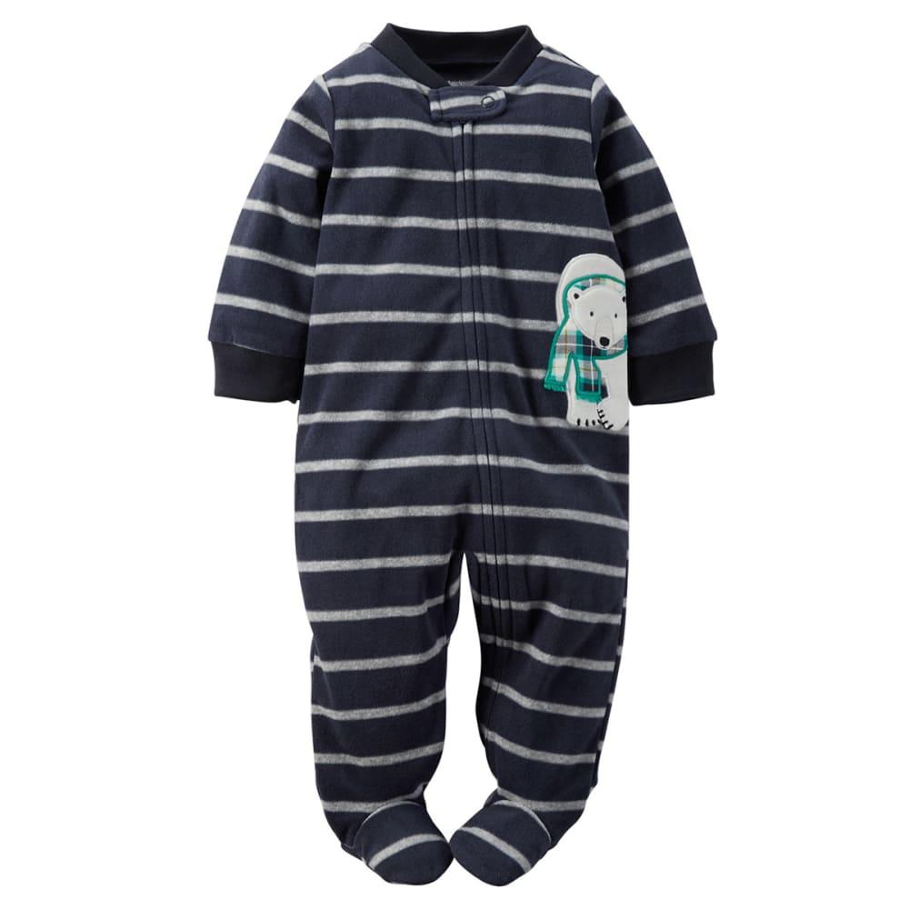 CARTER'S Baby Boys' Striped Polar Bear Sleep & Play - NAVY