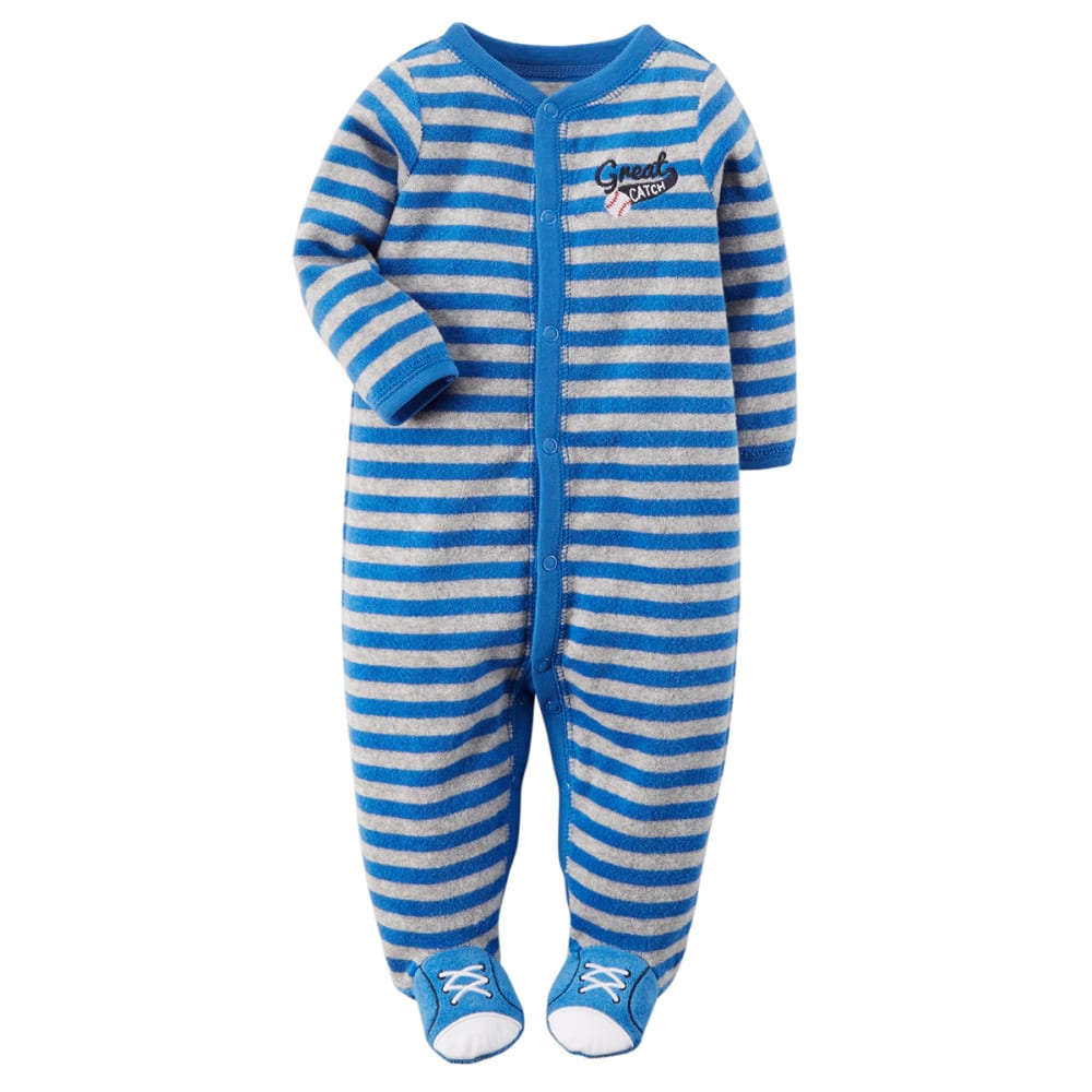 CARTER'S Boys' Great Catch Striped Footie - MED. BLUE