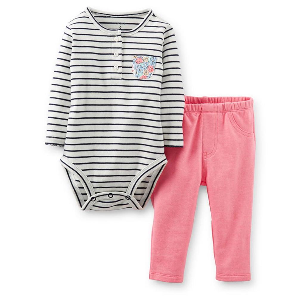 CARTER'S Infant Girls' 2-Piece Bodysuit Pant Set - BRIGHT PINK