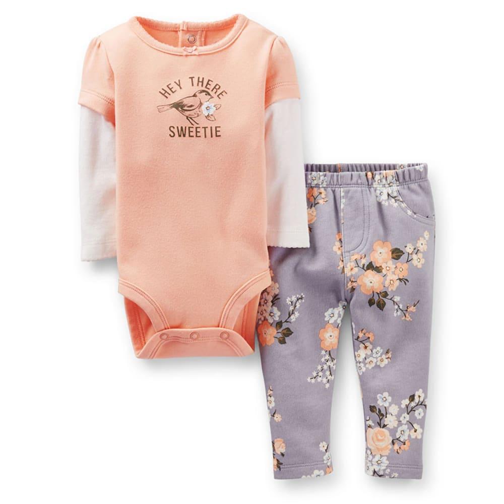 CARTER'S Infant Girls' 2-Piece Bodysuit Pant Set - PEACH