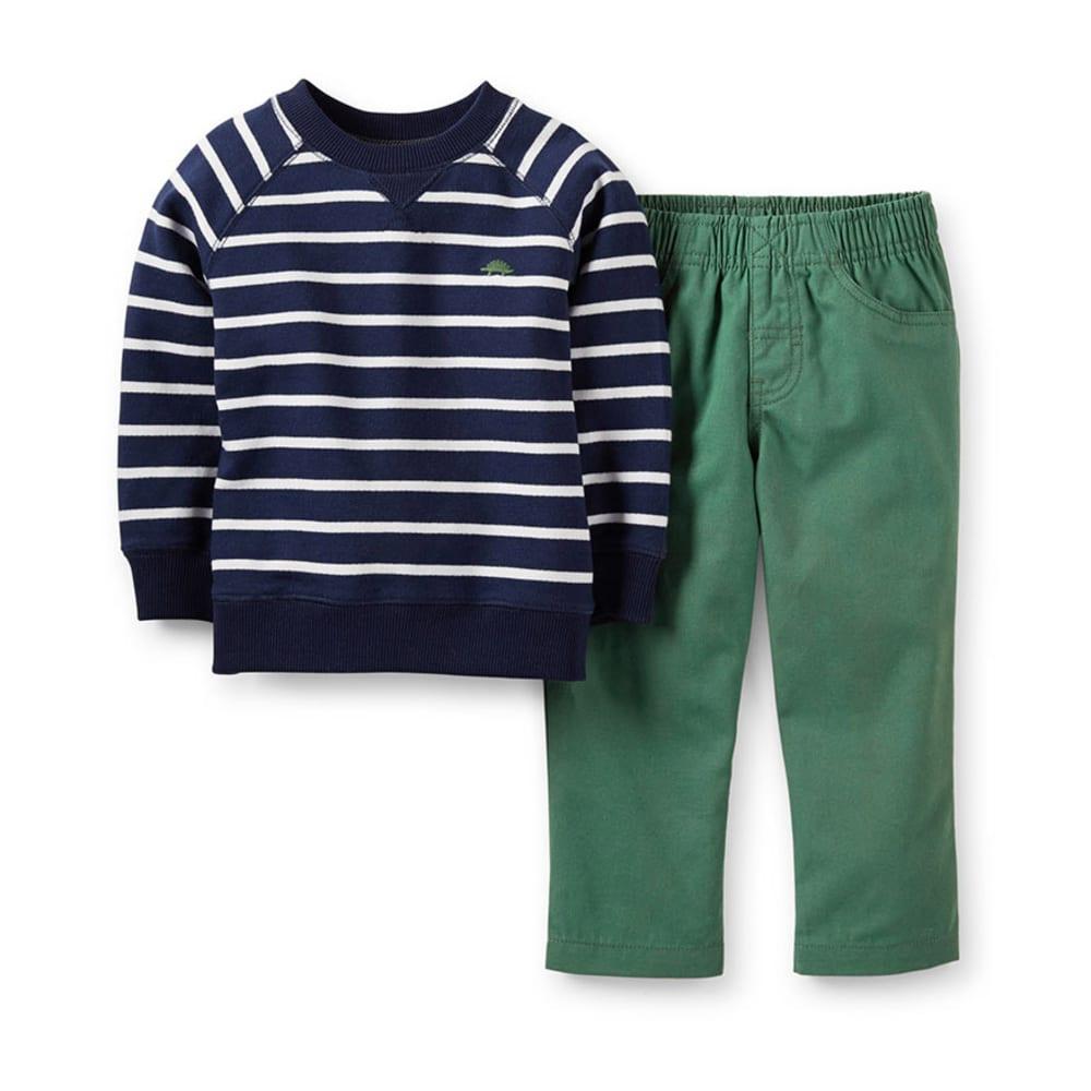 CARTER'S Infant Boys' Navy Striped Shirt Canvas Pant 2-Piece Set - STRIPES