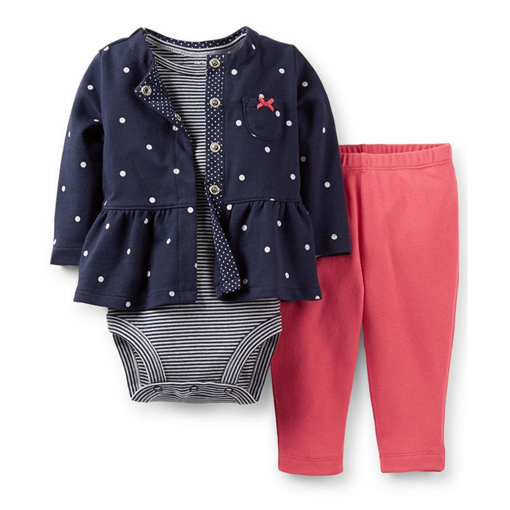 CARTER'S Infant Girls' 3-Piece Cardigan Set, Navy/White Dot - NAVY