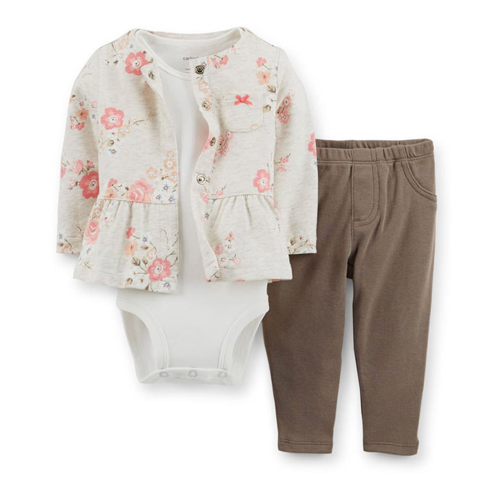 CARTER'S Infant Girls' 3-Piece Cardigan Set, Floral/Printed - FLORAL