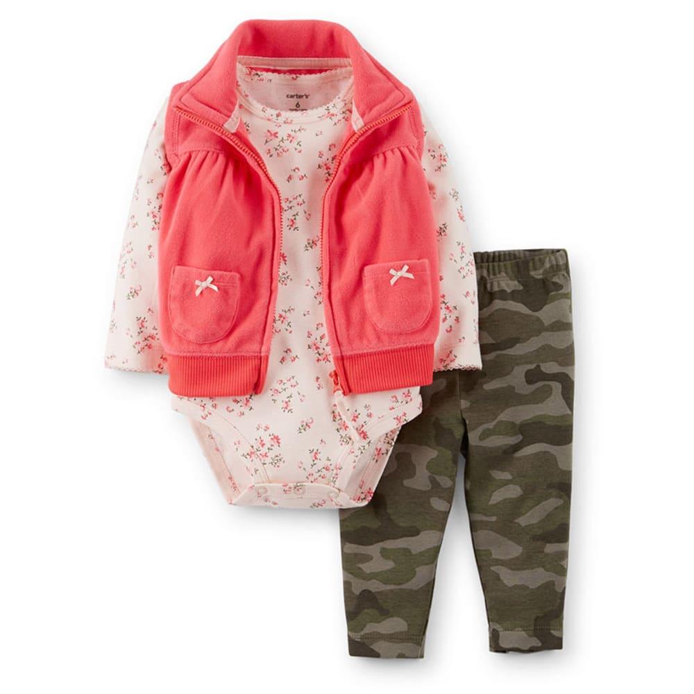 CARTER'S Infant Girls' 3-Piece Fleece Vest Set, Floral/Camo - PRINT