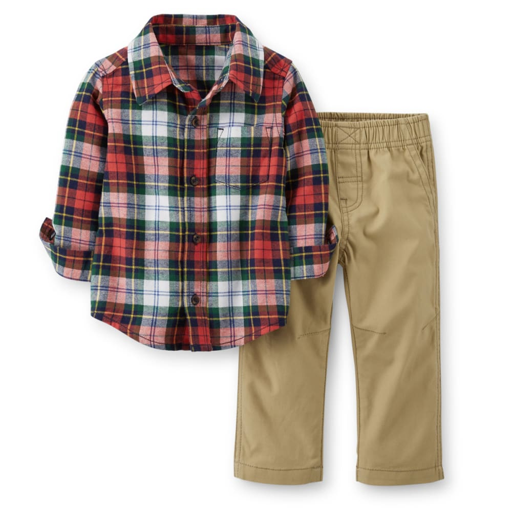 CARTER'S Infant Boys' 2-Piece Flannel Top and Canvas Pant Set - PLAID