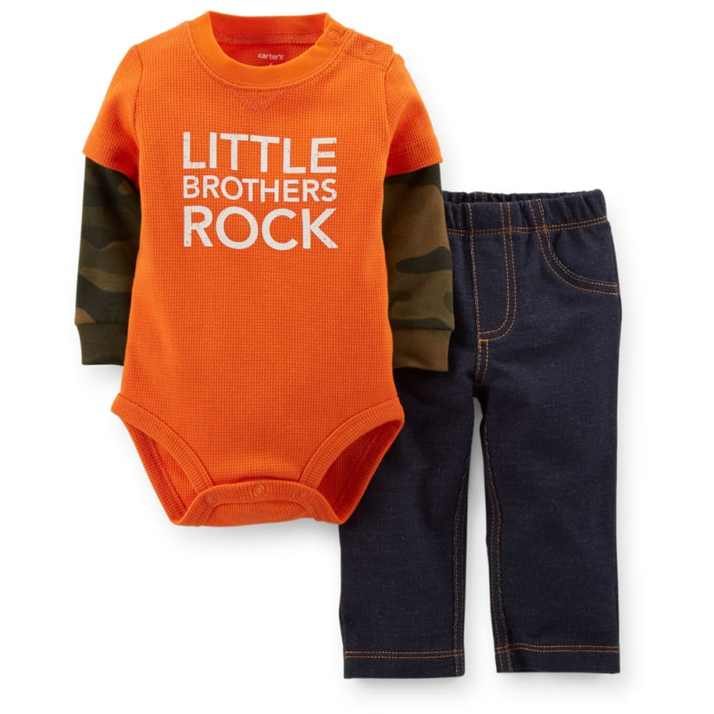 CARTER'S Infant Boys' 2-Piece Layered Bodysuit and Pants - ORANGE