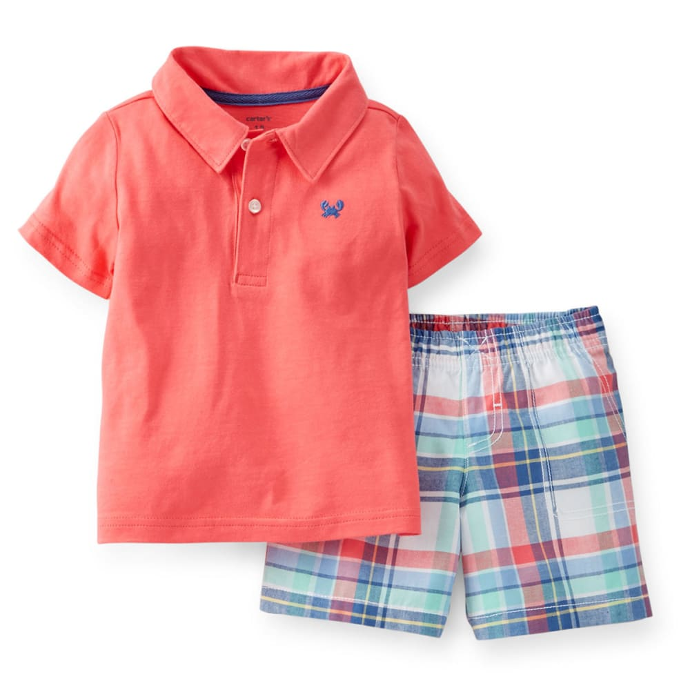 CARTERS Infant Boys' Plaid Polo 2-Piece Top and Shorts Set - PLAID