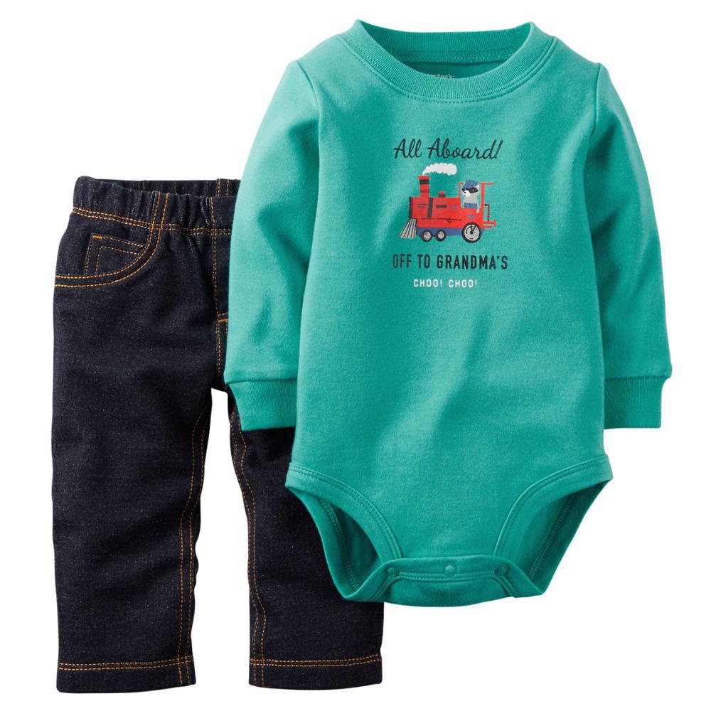 CARTER'S Baby Boys' Train Bodysuit & Pant Set, 2-Piece - DENIM