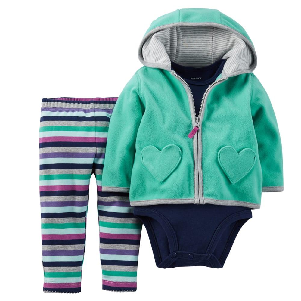 CARTER'S Girl's 3-Piece Hoodie W/ Striped Pants - TEAL