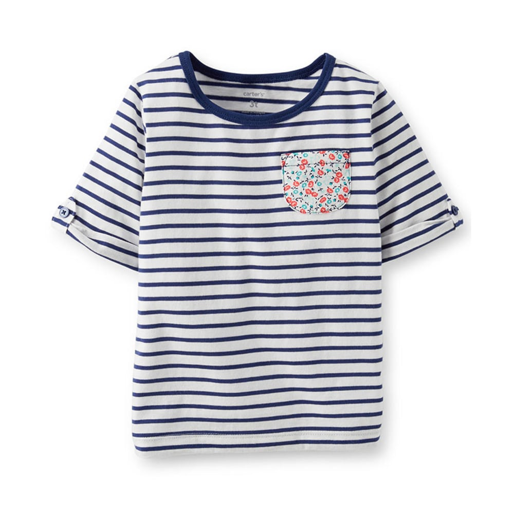 CARTER'S Toddler Girls' Stripe Roll- Cuff Tee, Navy - STRIPES