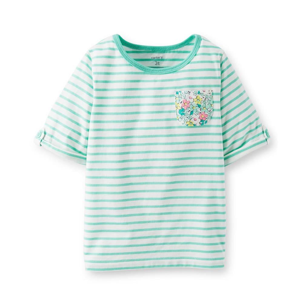 CARTER'S Toddler Girls' Stripe Roll- Cuff Tab Tee, Teal - STRIPES