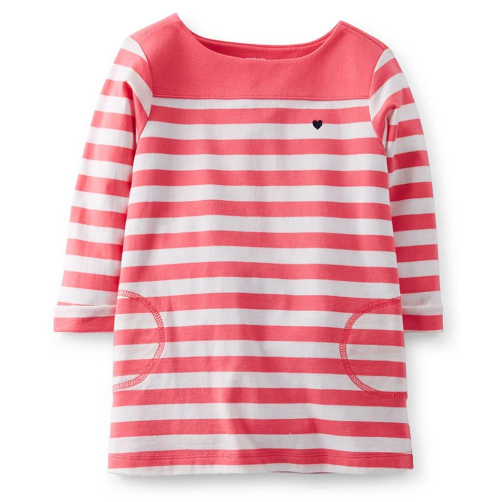 CARTER'S Toddler Girls' Jersey Tunic, Pink/White Stripe - STRIPES