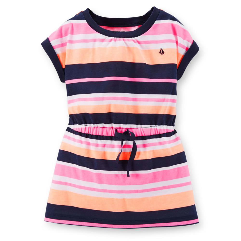 CARTER'S Toddler Girls' Striped Knit Tunic - NAVY/PINK