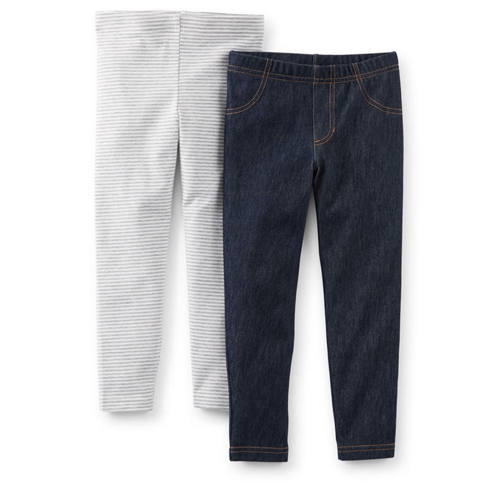 CARTER'S Toddler Girls' Knit Denim and Stripe Leggings, 2-Pack - MULTI