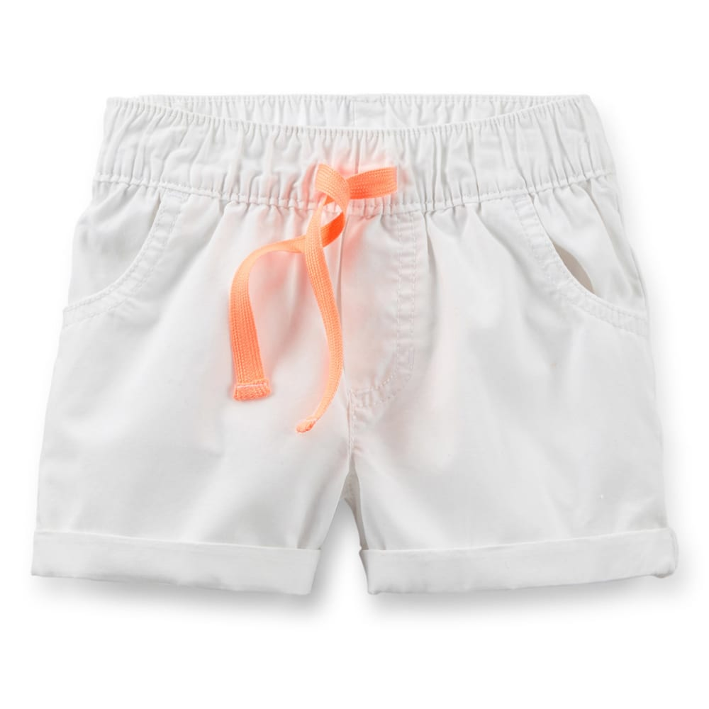 CARTERS Toddler Girls' Pull-On Poplin Shorts - WHITE