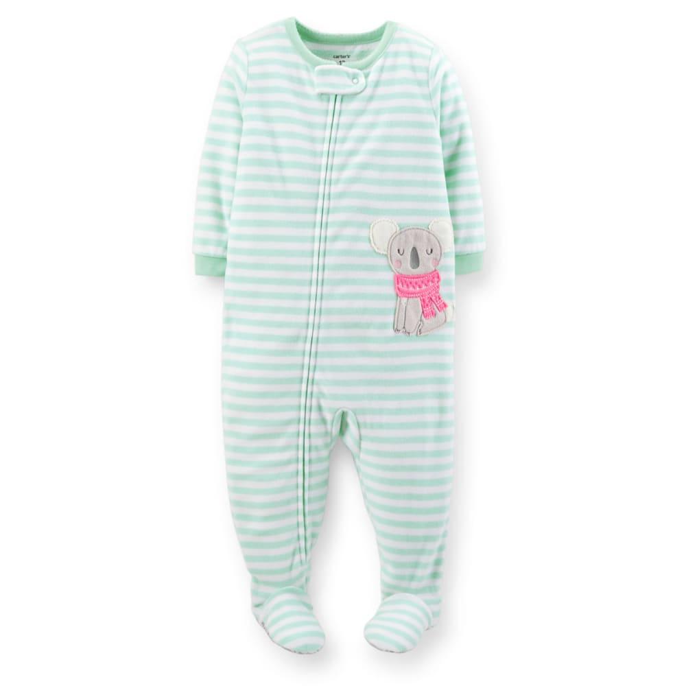 CARTER'S Infant Girls' 1-Piece Microfleece PJs - MINT