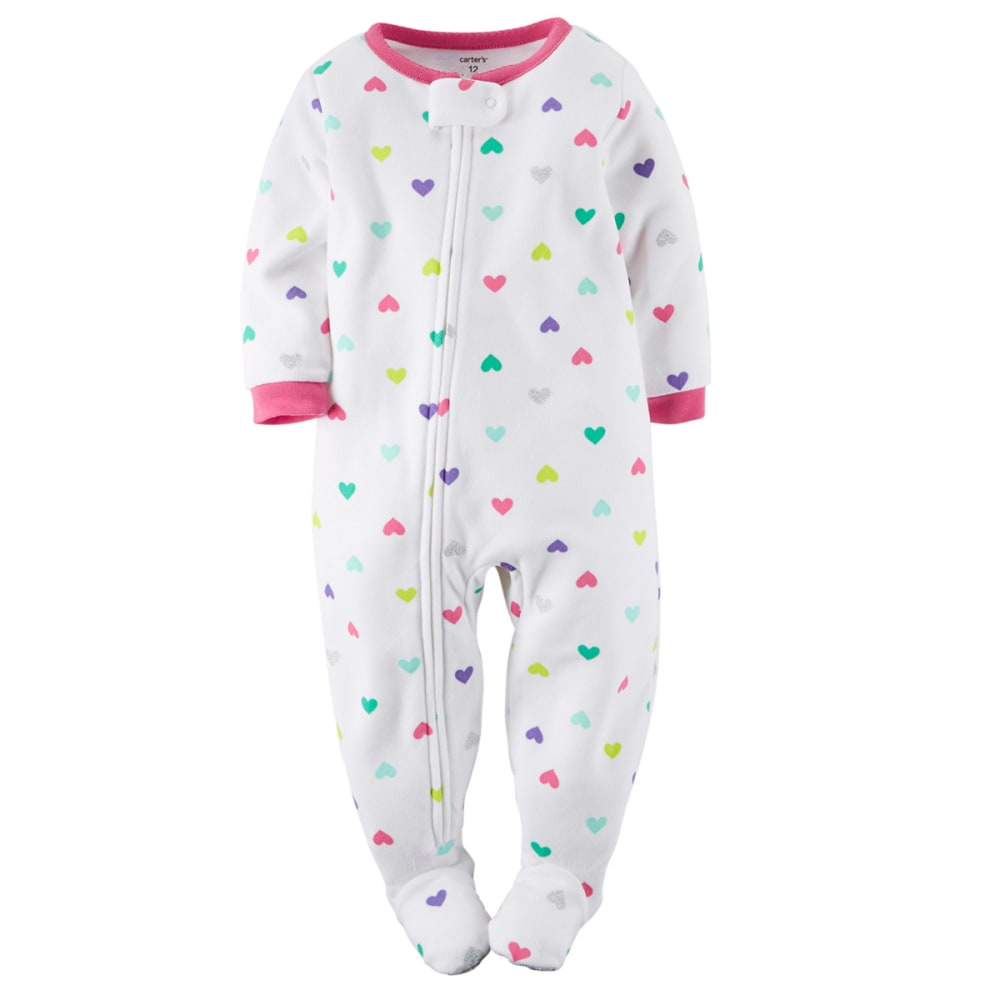 CARTER'S Baby Girls' 1-Piece Fleece Footed PJs - WHITE/PERIWINKLE