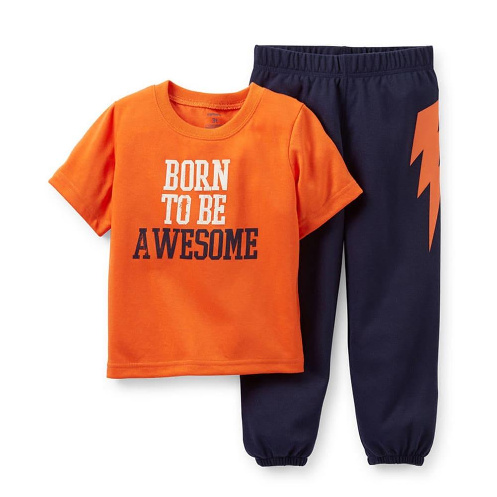 CARTER'S Toddler Boys' 2-Piece Born To Be Awesome Sleepwear, Orange - NAVY