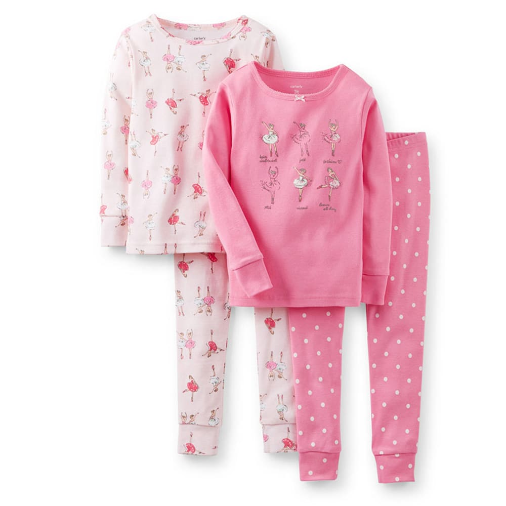 CARTER'S Toddler Girls' 4-Piece Snug Fit Cotton PJs, Pink Ballerina  - PRINT
