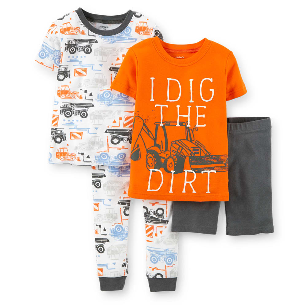 "CARTER'S Infant Boys' Four-Piece Snug Fit ""I Dig In The Dirt"" Cotton Pajamas - 969 PRINT"