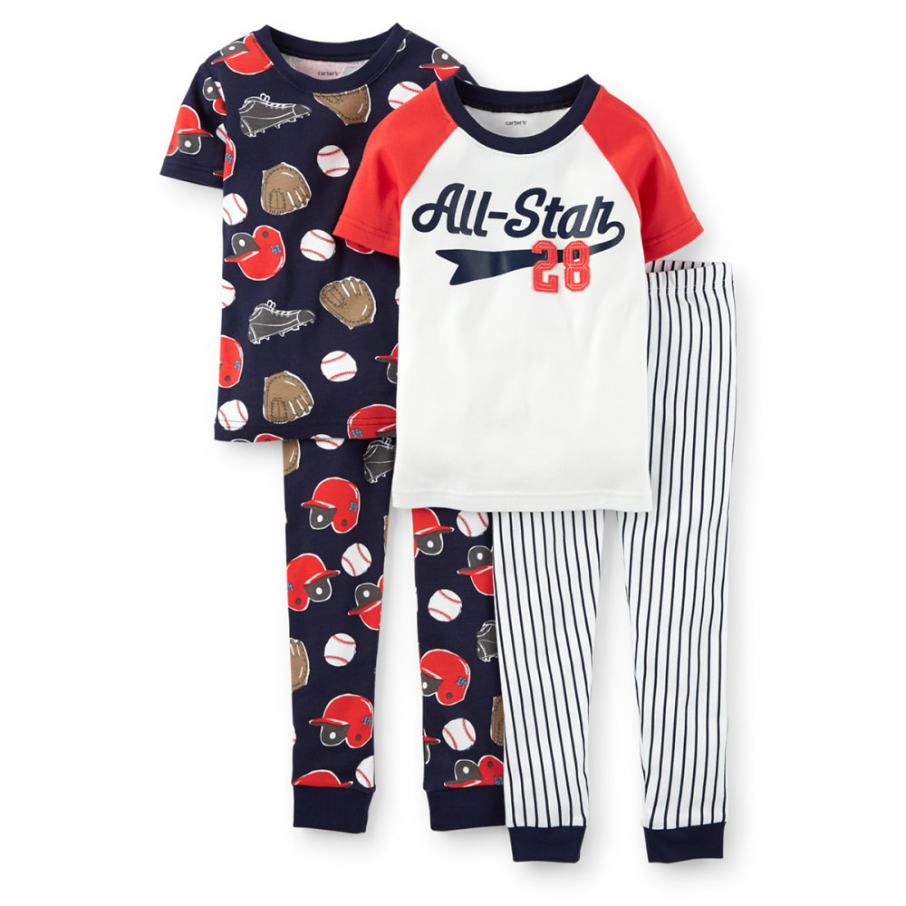"CARTER'S Infant Boys' Four-Piece Snug Fit ""All-Star"" Cotton PJs - 969 PRINT"