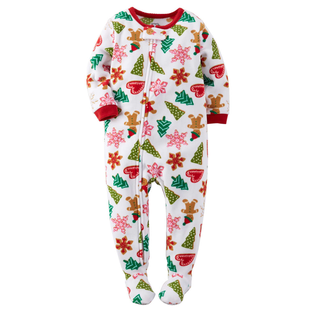 CARTER'S Infant Girls' Gingerbread One Piece Footed Pajamas - WHITE