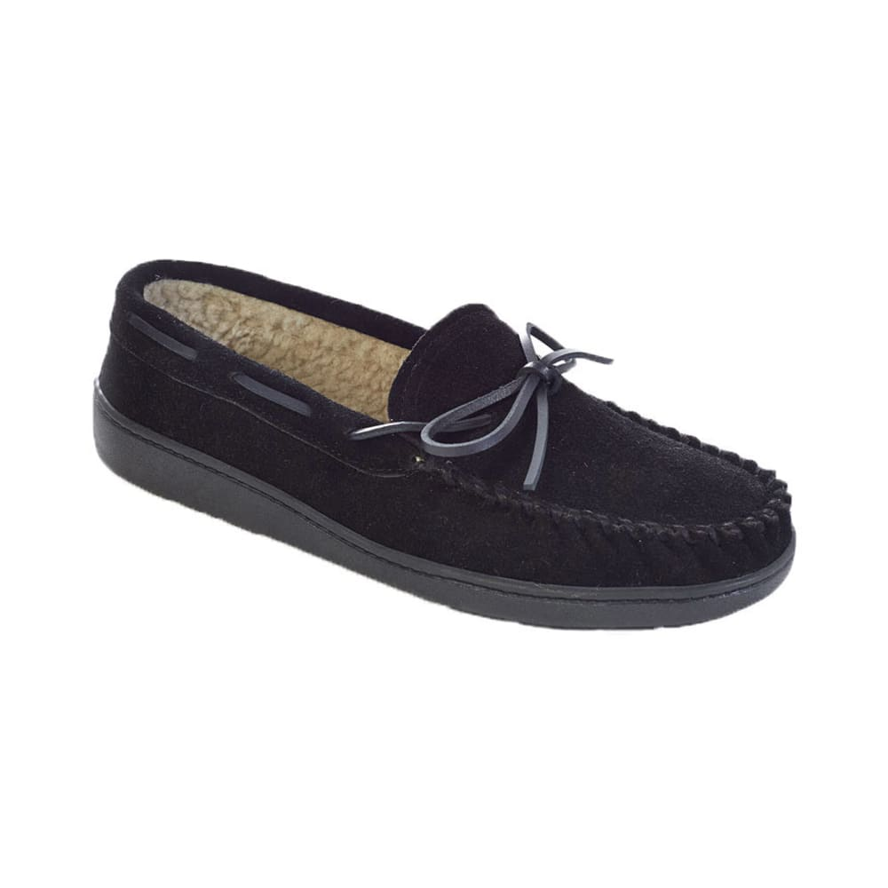 MINNETONKA Men's Travis Traditional Trapper Suede Mocs - VALUE DEAL - BLACK