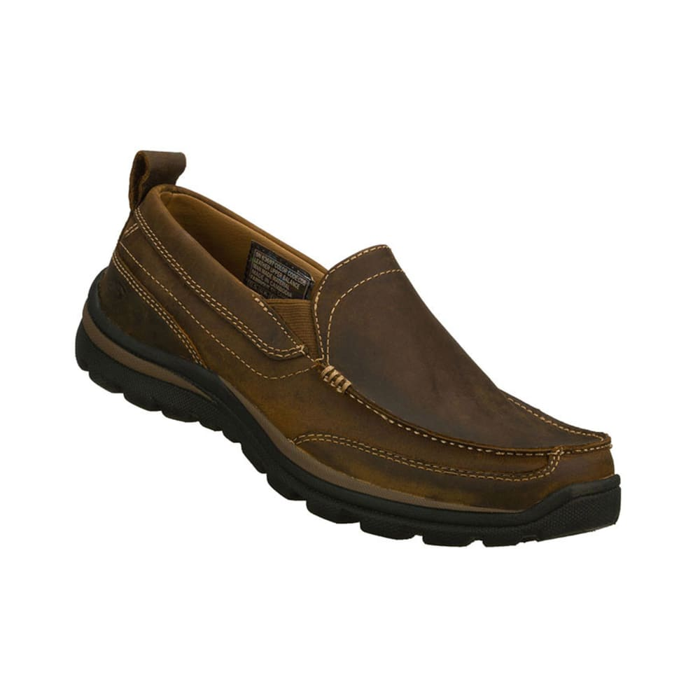 SKECHERS Men's Gains Slip-on Mocs - BROWN