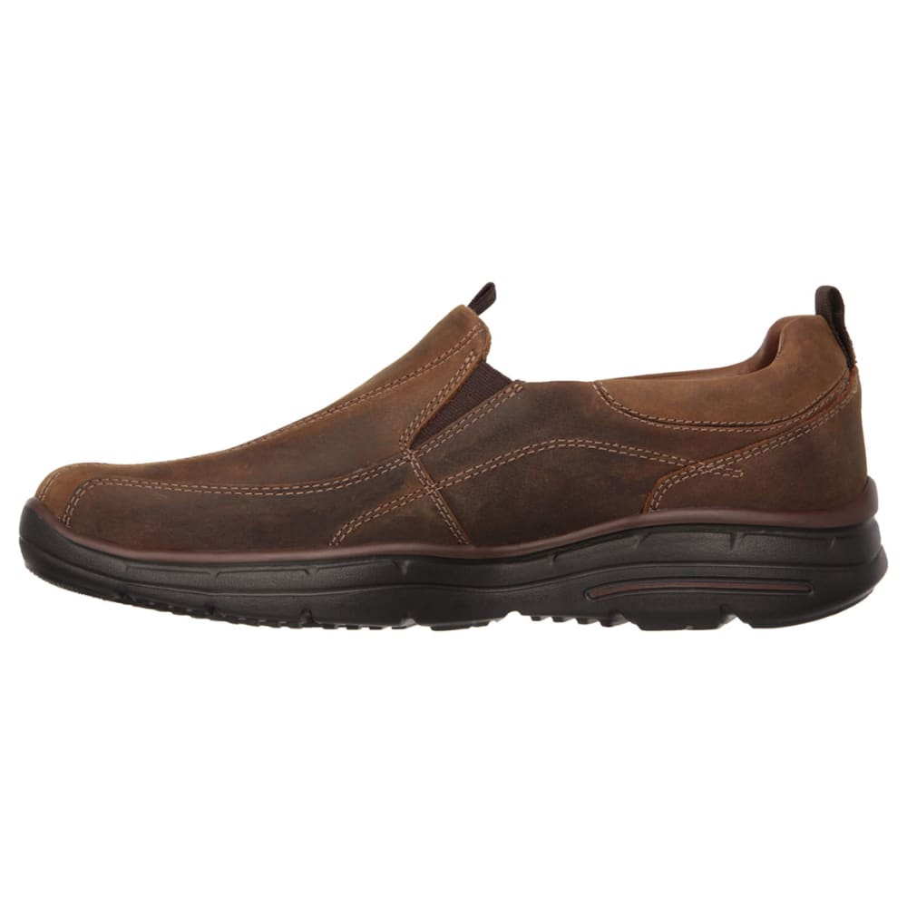 SKECHERS Men's Docklands Slip On Shoes - CHESTNUT DISTRESSED