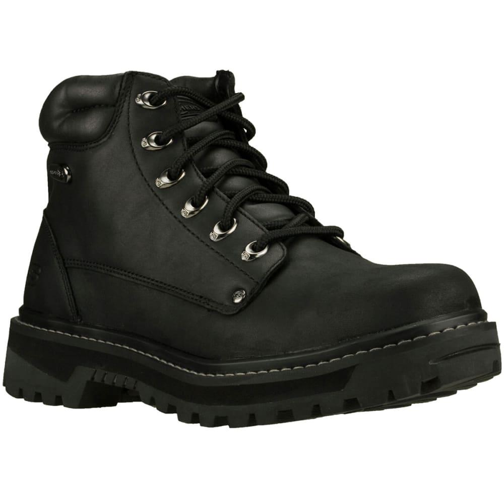 SKECHERS Men's Pilot Boots, Medium Width - BLACK