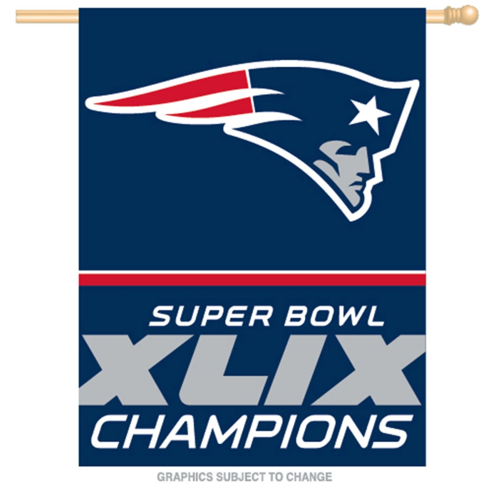 NEW ENGLAND PATRIOTS Super Bowl XLIX Champs Vertical Flag - MULTI