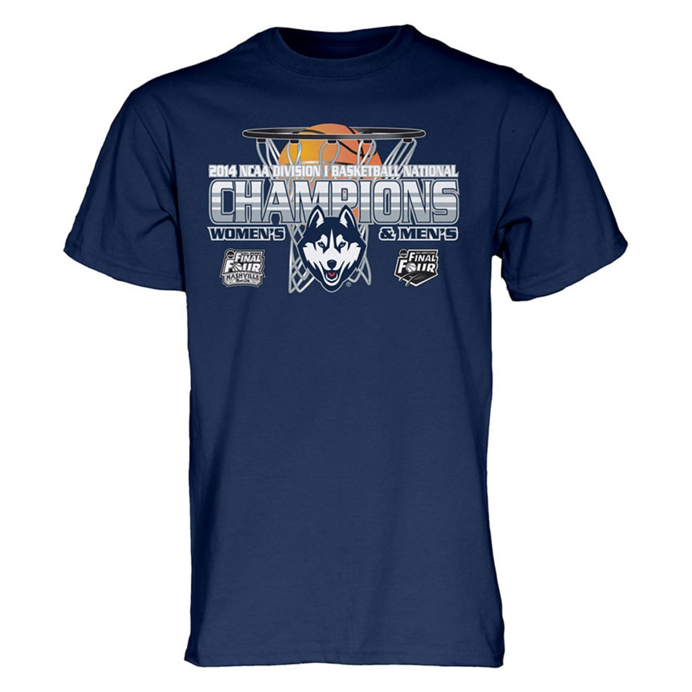 UCONN Men's and Women's Basketball 2014 NCAA National Champions Dual Champs Tee - Priority Shipping not available at this time PREMIER - NAVY