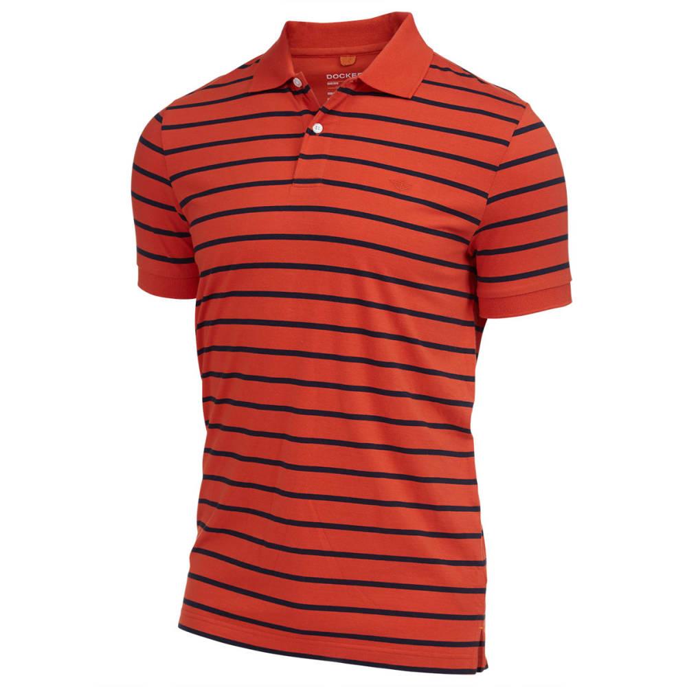 DOCKERS Men's Stripe Pop Polo Shirt - ORANGE POP-8810