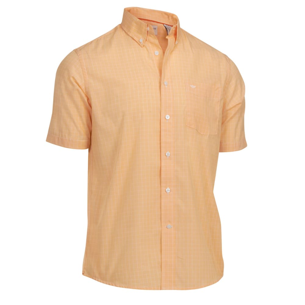 DOCKERS Men's Windowpane Solid Woven Button-Down Shirt - CITRUS