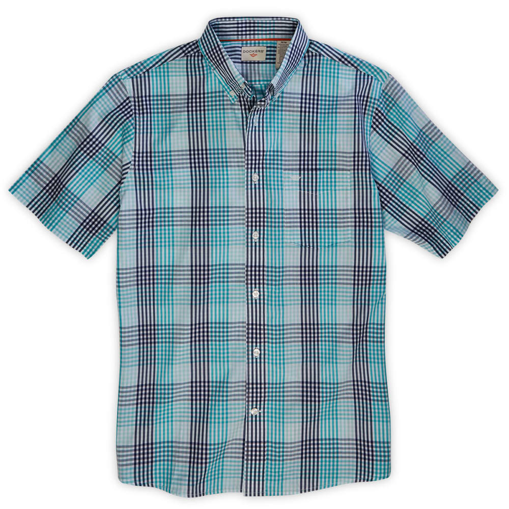 DOCKERS Men's Multi Plaid Woven Button-Down Shirt - BALTIC BLUE