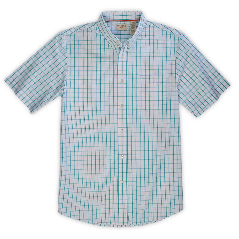 DOCKERS Men's Grid Fashion Woven Button-Down Shirt - BALTIC BLUE