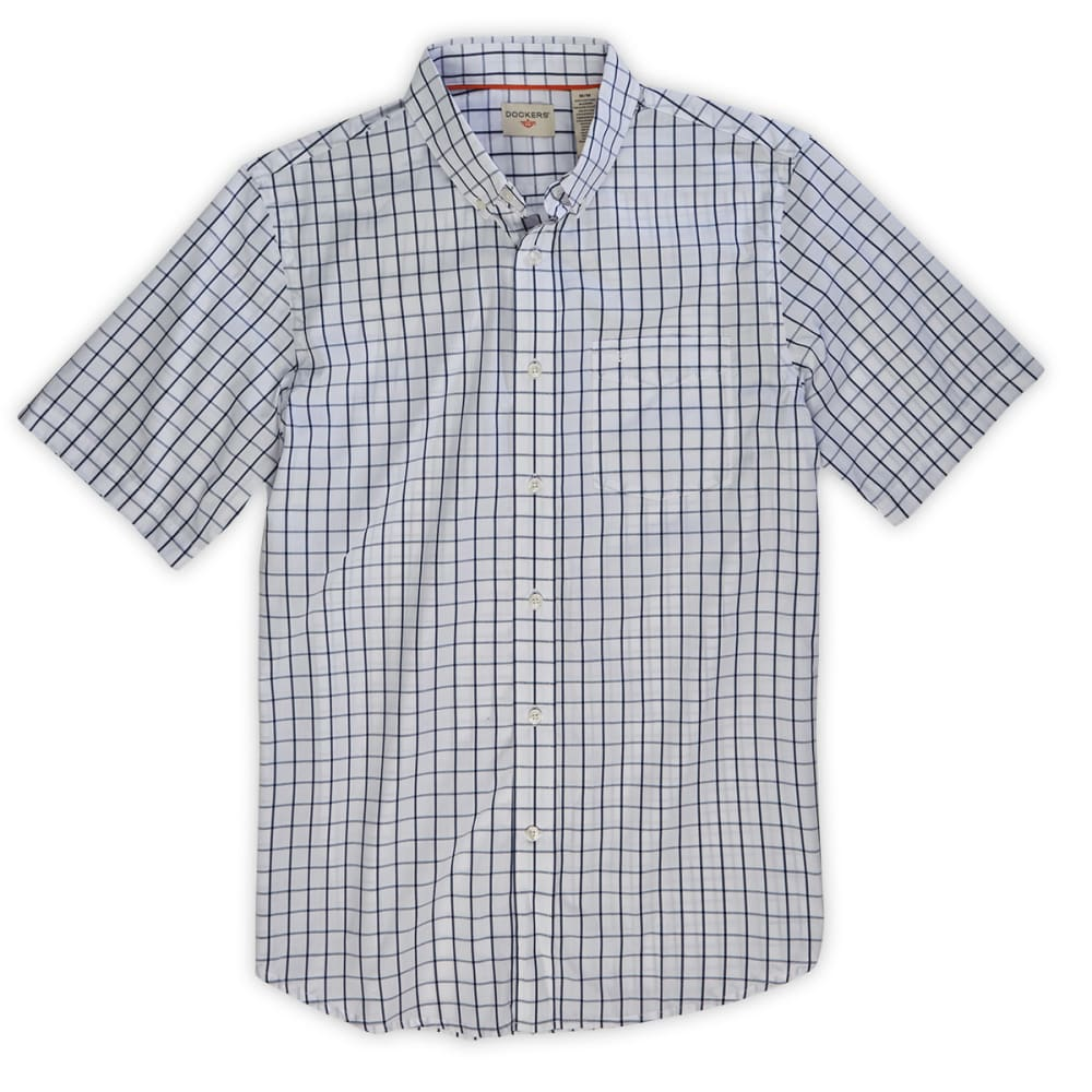 DOCKERS Men's Grid Fashion Woven Button-Down Shirt - ESTATE BLUE