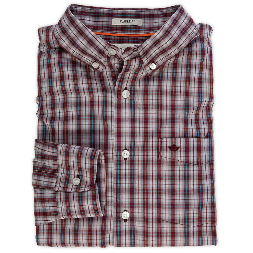 DOCKERS Men's Medium Plaid Shirt - CEMENT GREY