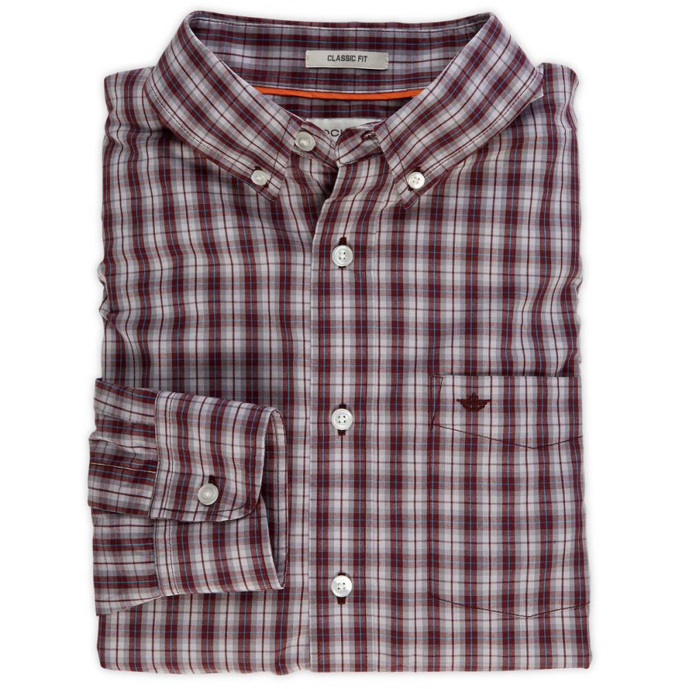 DOCKERS Men's Medium Plaid Shirt - CEMENT GREY