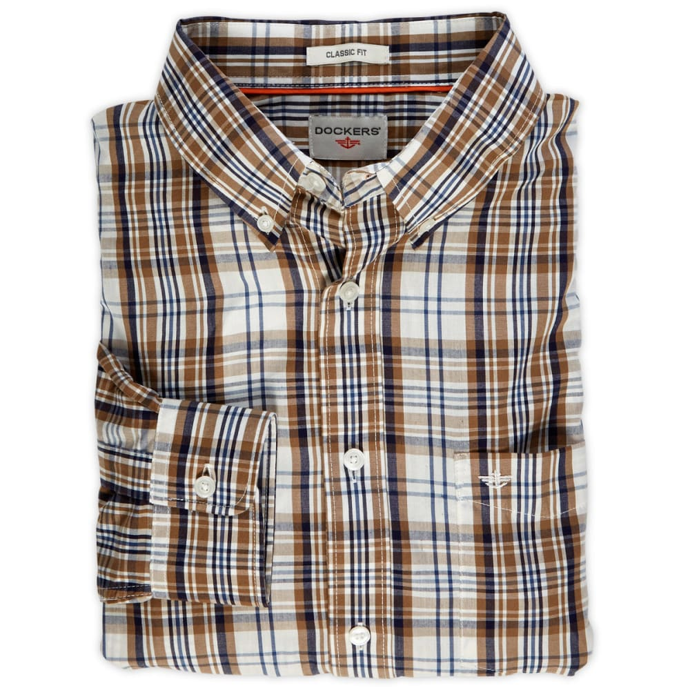 DOCKERS Men's Medium Plaid Shirt - TRUE ECRU