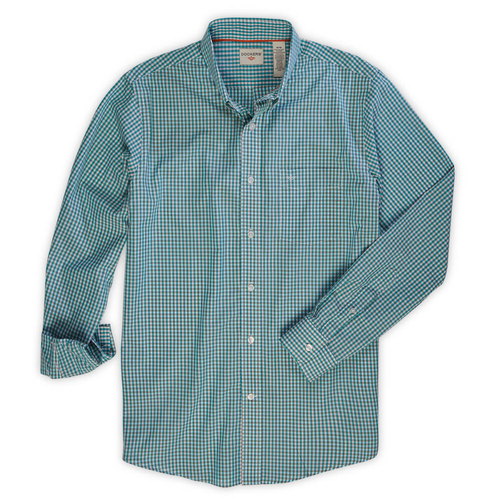 DOCKERS Men's Gingham Woven Button-Down Shirt - BALTIC BLUE
