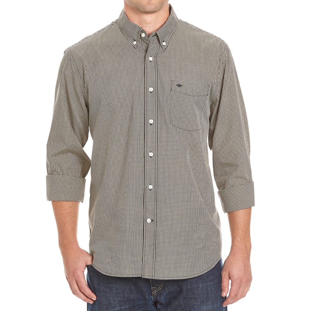 DOCKERS Men's Long-Sleeve Micro Check Shirt - BLACK