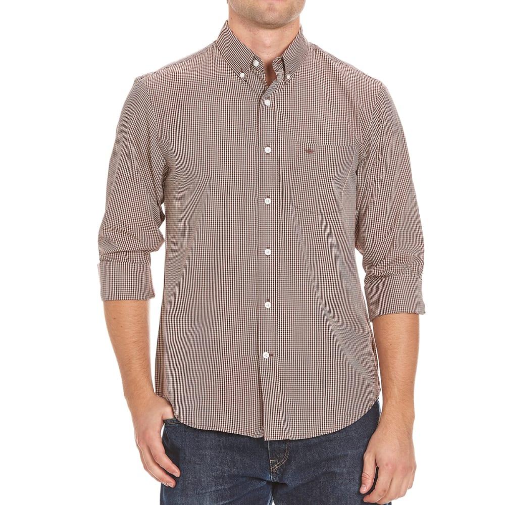 DOCKERS Men's Long-Sleeve Micro Check Shirt - MERLOT