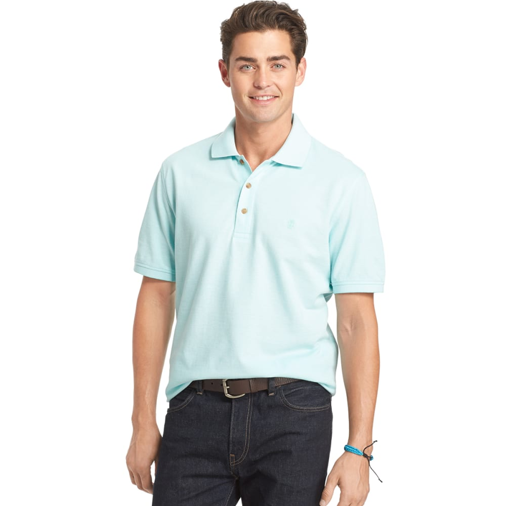 IZOD Men's Oxford Pique Polo - 458-AQUA SKY