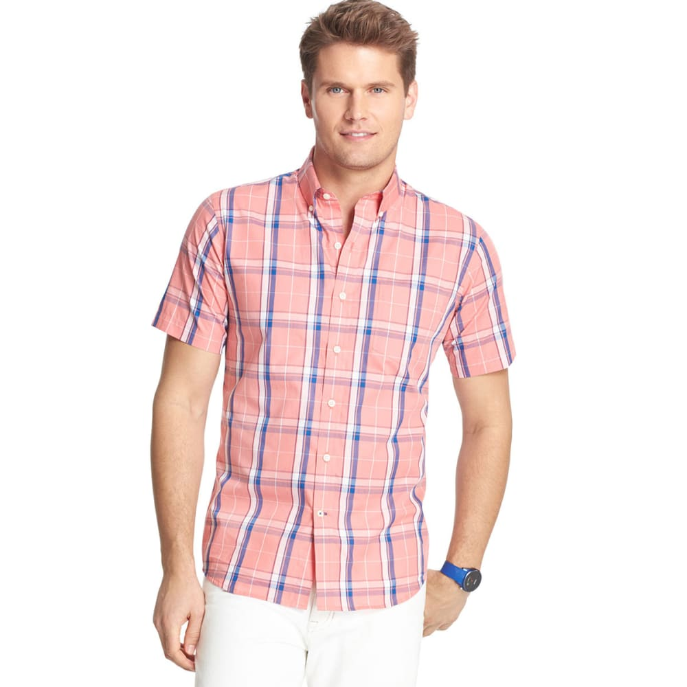 IZOD Men's Plaid Poplin Short-Sleeve Shirt - TEA ROSE