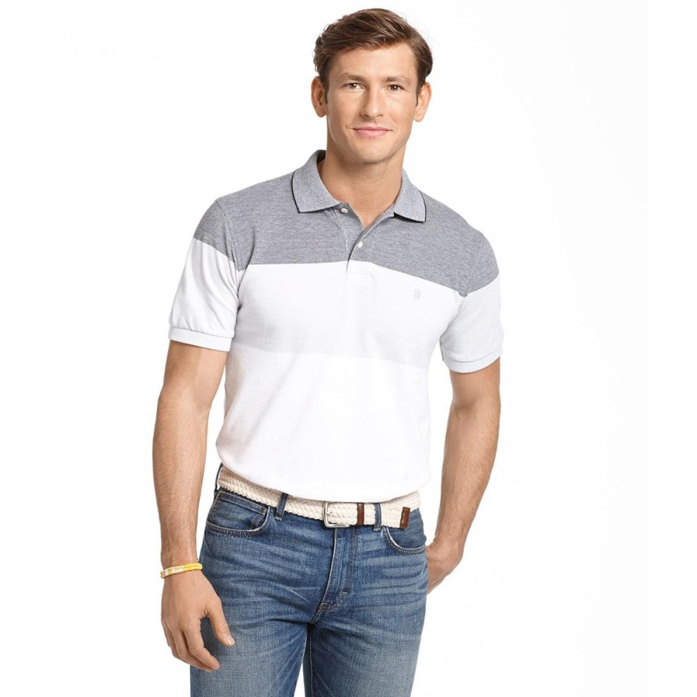 IZOD Men's Stripe Cotton Oxford Polo - BLACK/STEEL/TROPICAL