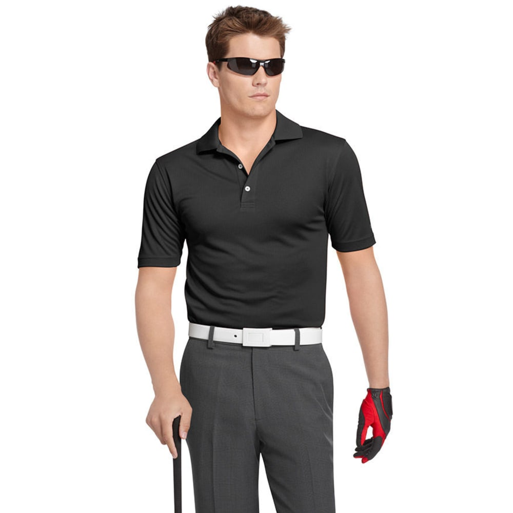 IZOD Men's Golf Poly Solid Grid Polo - BLACK-002