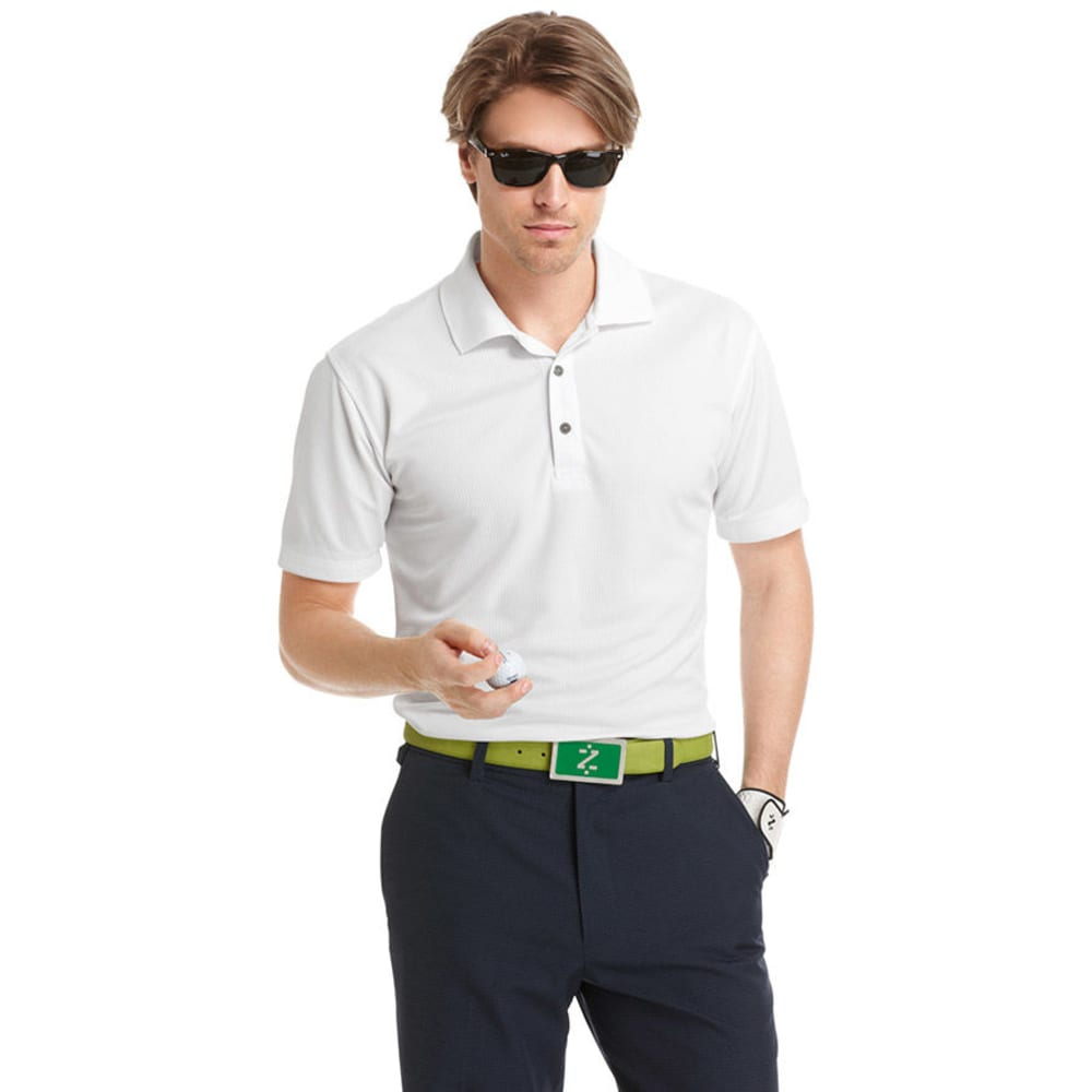 IZOD Men's Golf Poly Solid Grid Polo - WHITE-100