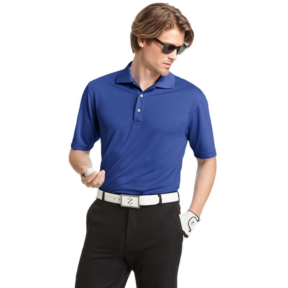 IZOD Men's Golf Poly Solid Grid Polo - COBALT-429