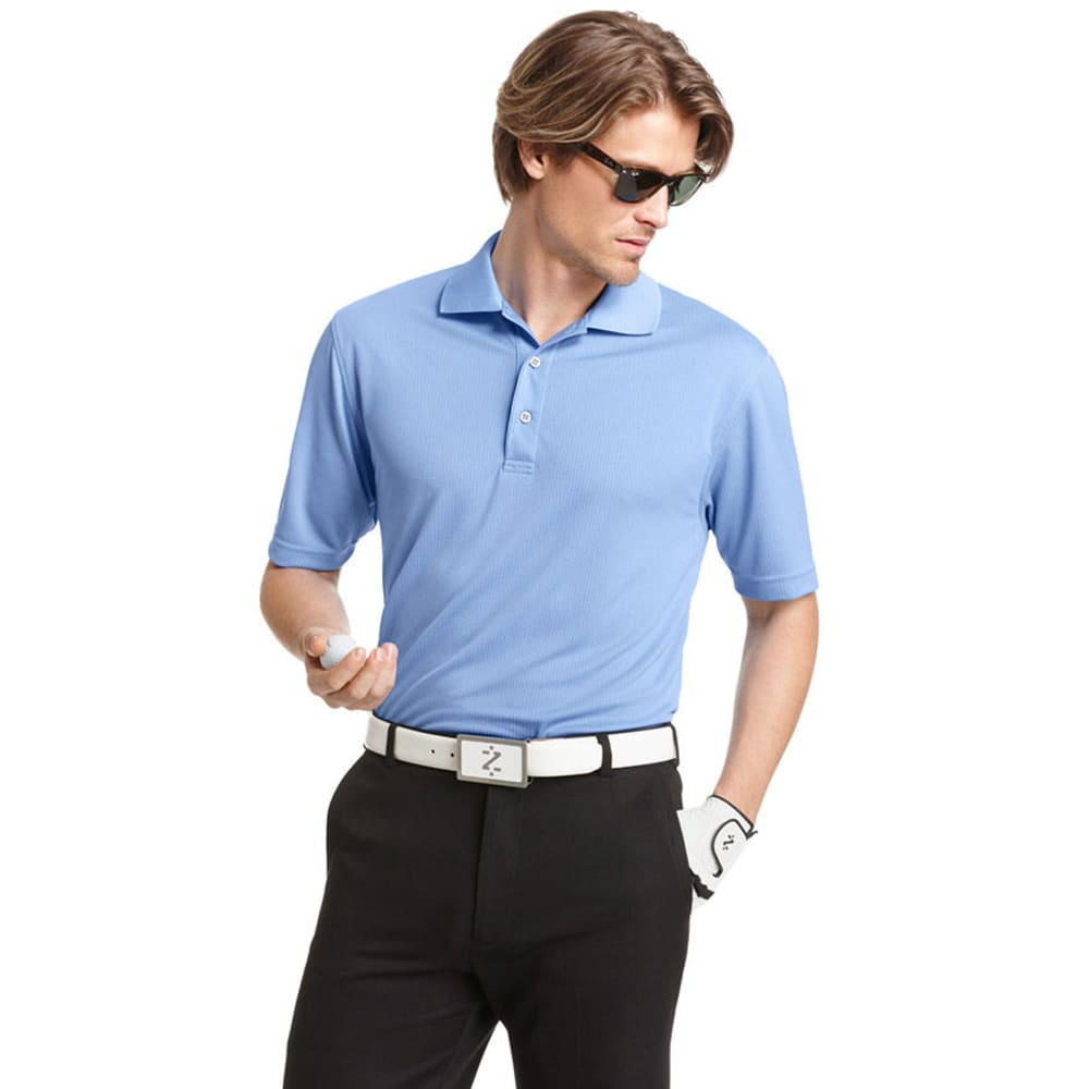 IZOD Men's Golf Poly Solid Grid Polo - RIVIERA BLUE-404